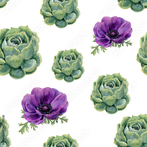 Cotton fabric Watercolor succulents and anemone flowers seamless pattern on white background. Floral texture for design, textile and background.