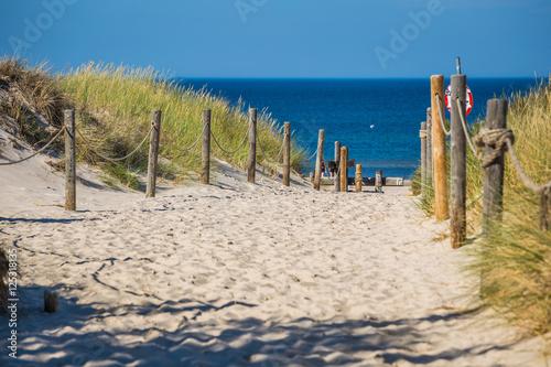 Obrazy na płótnie Canvas Sandy beach in Leba town, Baltic Sea, Poland