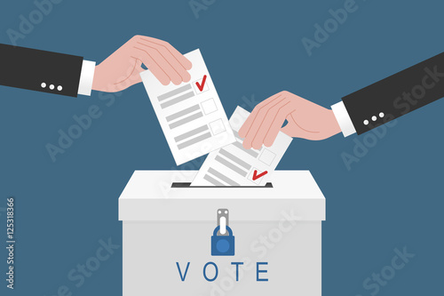 Fotografie, Obraz  Voting concept. Hand putting paper in the ballot box