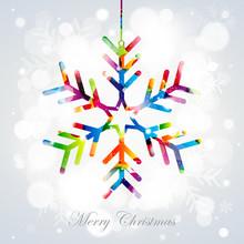 Hanging Snowflake - Colorful V...