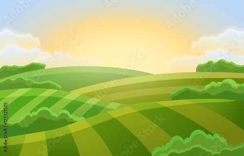 Photo sur Aluminium Vert chaux Rural landscape with green fields