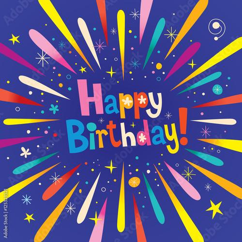 Photo  Happy Birthday burst explosion celebration greeting card