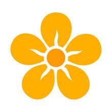 Yellow Five Petal Flower Bloss...