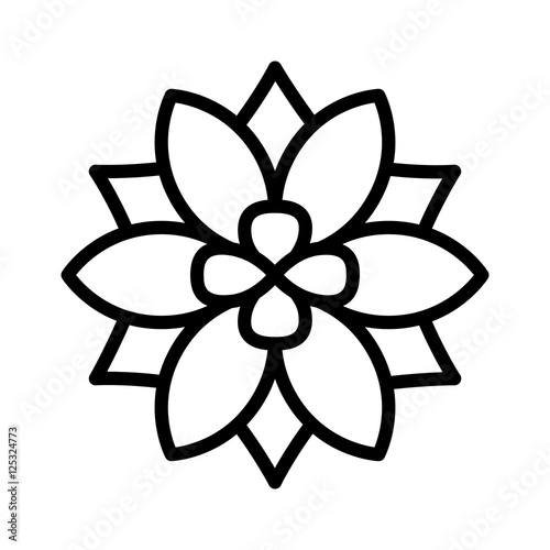 Six Petal Flower Blossom Or Bloom Line Art Icon For Apps And
