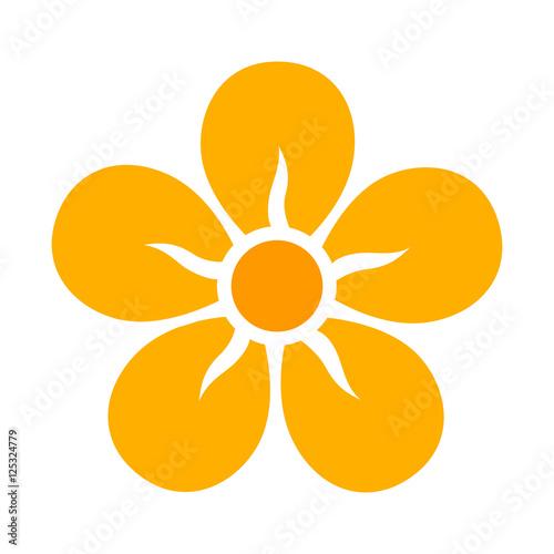 Yellow five petal flower blossom or bloom flat color icon for apps yellow five petal flower blossom or bloom flat color icon for apps and websites mightylinksfo