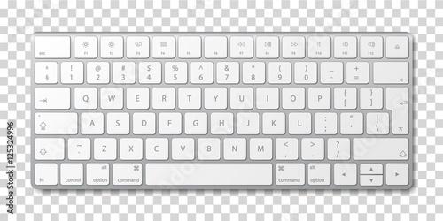Fotografía  Modern aluminum computer keyboard on transparent background.