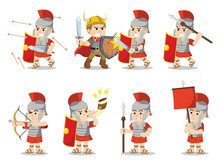 Roman Soldier Set Illustration Design