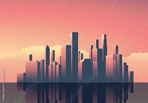 art deco cityscape at sunset illustration buy this stock