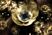 Abstract Golden 3d Flowers And...