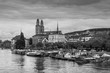 Zurich city center with Grossmunster Church and Limmat rive, Swi