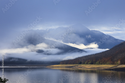 Aluminium Prints Mist on Maligne lake