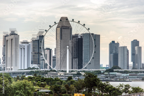 Photo  Singapore flyer with skyscrapers in background