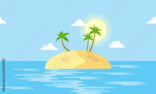 Foto op Aluminium Blauw Island scenery with palm cartoon vector