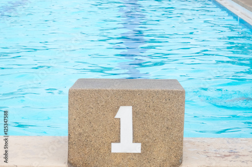 Swimming pool starting block – kaufen Sie dieses Foto und ...