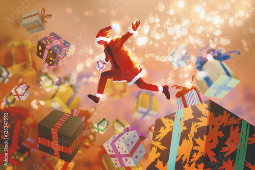 Santa claus jumping into colorful gift boxes,Christmas concept,illustration painting
