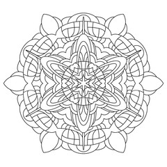 Black and White Vector Mandala. Mandala vector for art, coloring book, zendoodle. Circle Abstract Object Isolated On White Background.