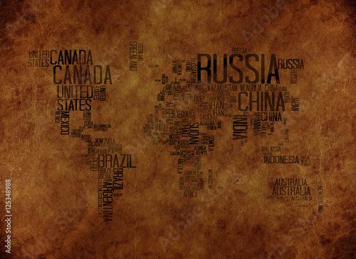 Obraz na płótnie mapa świata z napisów na skórzanym tle