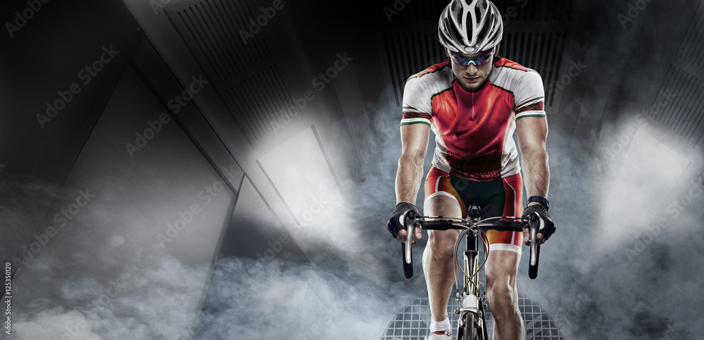 Fototapeta Sport. Cyclist has a traning in the wind tunnel