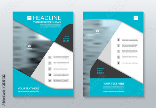 blue annual report brochure layout template a4 size front and back page can