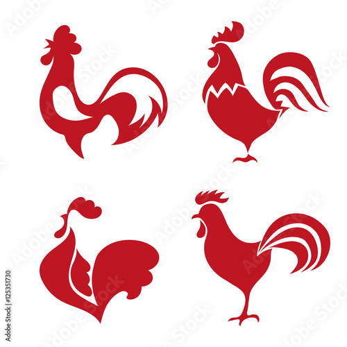 Leinwand Poster Red roosters logo set