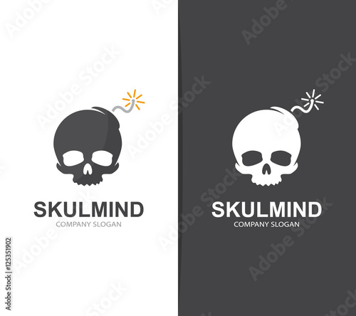 Vector Skull And Bomb Logo Combination Explosion And Dead Symbol Or