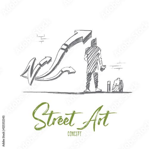 vector hand drawn street art concept sketch boy standing backwards