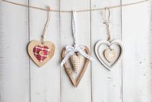 Valentine Hearts On Wooden Background