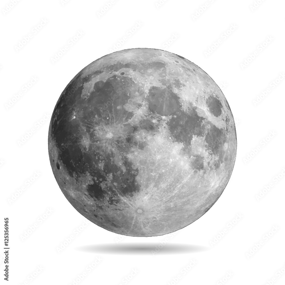 Fototapety, obrazy: Realistic full moon with shadow vector eps10. Vector illustration. Elements of this vector furnished by NASA