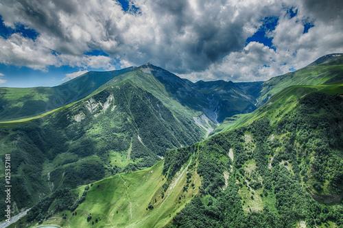 Foto op Aluminium Nachtblauw georgia mountain nature landscape beautiful summer Kazbegi