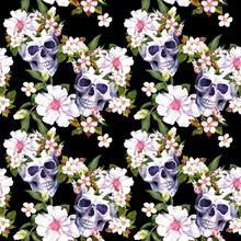 Human Skulls, Flowers At Black Background. Seamless Pattern. Watercolor