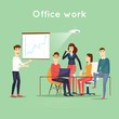 Business characters. Teamwork. Presentation. Workplace. Office life. Flat design vector illustration.