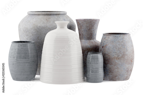Fotografie, Obraz  six ceramic vases isolated on white background