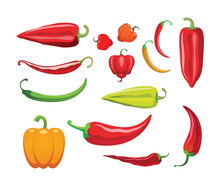 Hot Peppers. Different Sorts O...