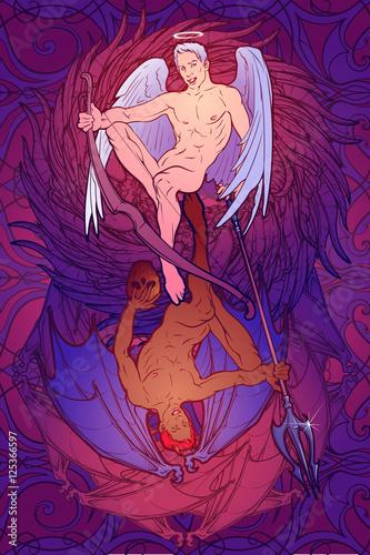 aniol-i-demon-eklektyczny-styl-pinup-i-secesja-skomplikowany-rysunek-dloni-bogate-szczegolowe-tlo-projekt-uroczystosci-przyjaznych-gejom-na-walentynki