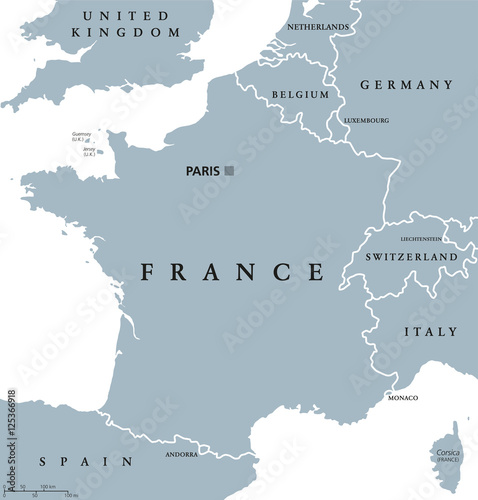 Fotografie, Tablou  France political map with capital Paris, Corsica, national borders and neighbor countries