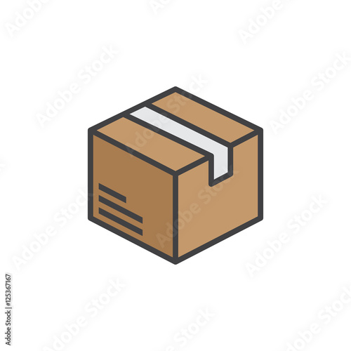 Leinwand Poster Box, package line icon, filled outline vector sign, linear colorful pictogram isolated on white