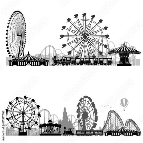 Fotografie, Obraz  Vector illustration.Roller Coaster Silhouette .Carousel