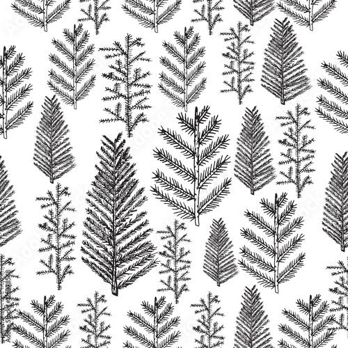 Stoffe zum Nähen Nahtlose Muster mit Weihnachtsbaum und Kiefer Tannenzweigen, handgezeichnete Vektor-Illustration, Winter Urlaub Hintergrund
