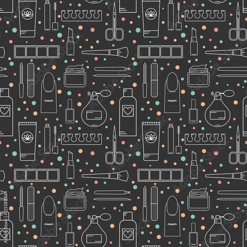 Cotton fabric Seamless vector pattern cosmetics and manicure. Color line style