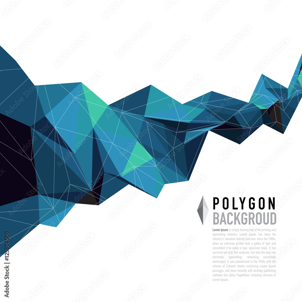 Fototapeta Abstract polygon shapes color background. Vector Ilustration.