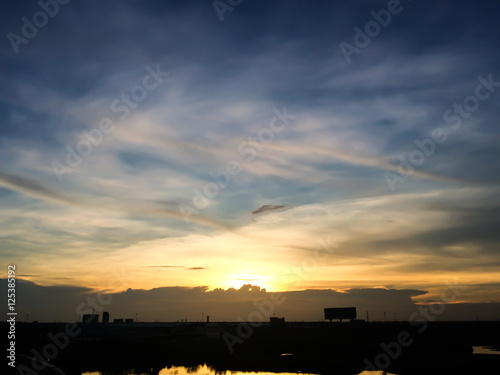 Fotobehang Oceanië Silhouette of sunset from Hometown in thailand. Downtown landscape.