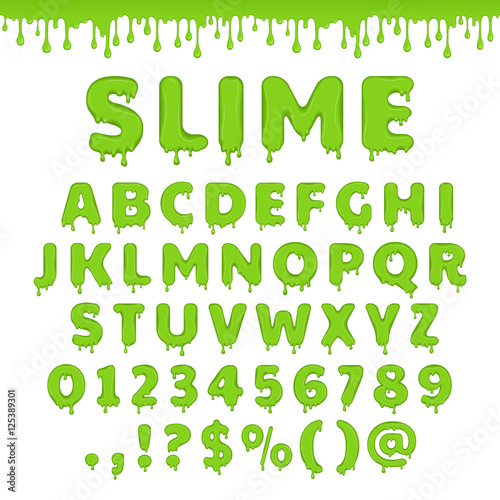 Fotografía Vector green slime alphabet