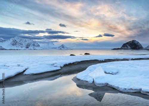 Winter at Haukland Beach, Lofoten, Norway