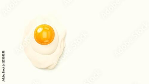 Deurstickers Gebakken Eieren fried egg 3d illustration with copy space