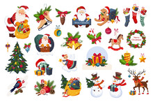 Classic Beautiful Christmas Stickers On White Background