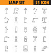 Lamp line icon set. High quality pictogram. Outline vector symbol for design website or mobile app. Thin line sign for logo, visit card, etc.