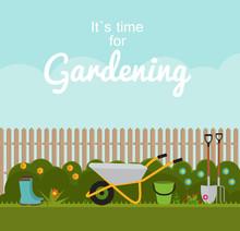 Gardening Flat Background Vect...