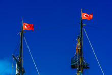 Black Masts With Turkish Flags