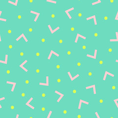 Modern seamless pattern with shapes in pink and yellow on green background.