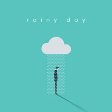 Business Rainy Day Vector Concept With Businessman Standing Under Cloud And Rain.